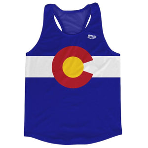 Colorado State Flag Running Tank Top Racerback Track and Cross Country Singlet Jersey - Blue & White / Adult X-Small - Running Top