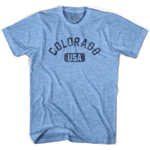 Colorado USA Adult Tri-Blend T-shirt - Athletic Blue / Adult Small - USA State