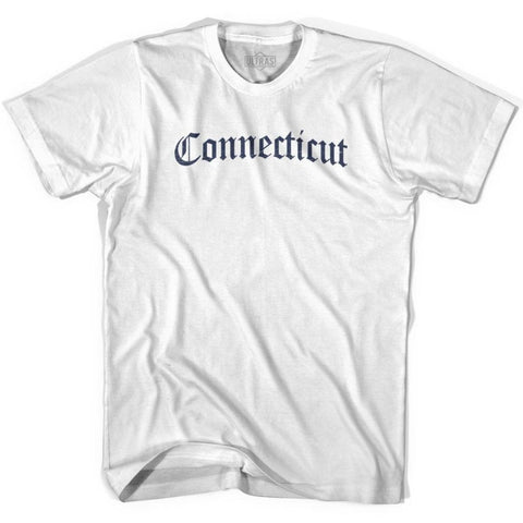 Connecticut Old Town Font T-shirt - White / Adult X-Small - Old Town Collection