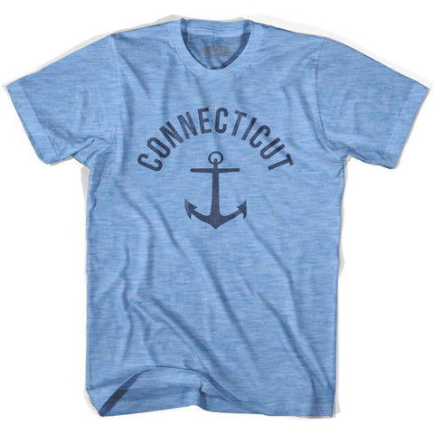 Connecticut State Anchor Home Tri-Blend Adult T-shirt - Athletic Blue / Adult Small - Anchor Home