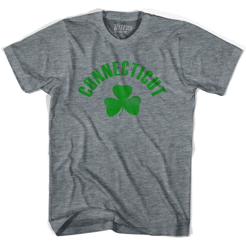 Connecticut State Shamrock Tri-Blend T-shirt - Athletic Grey / Adult X-Small - Shamrock Collection