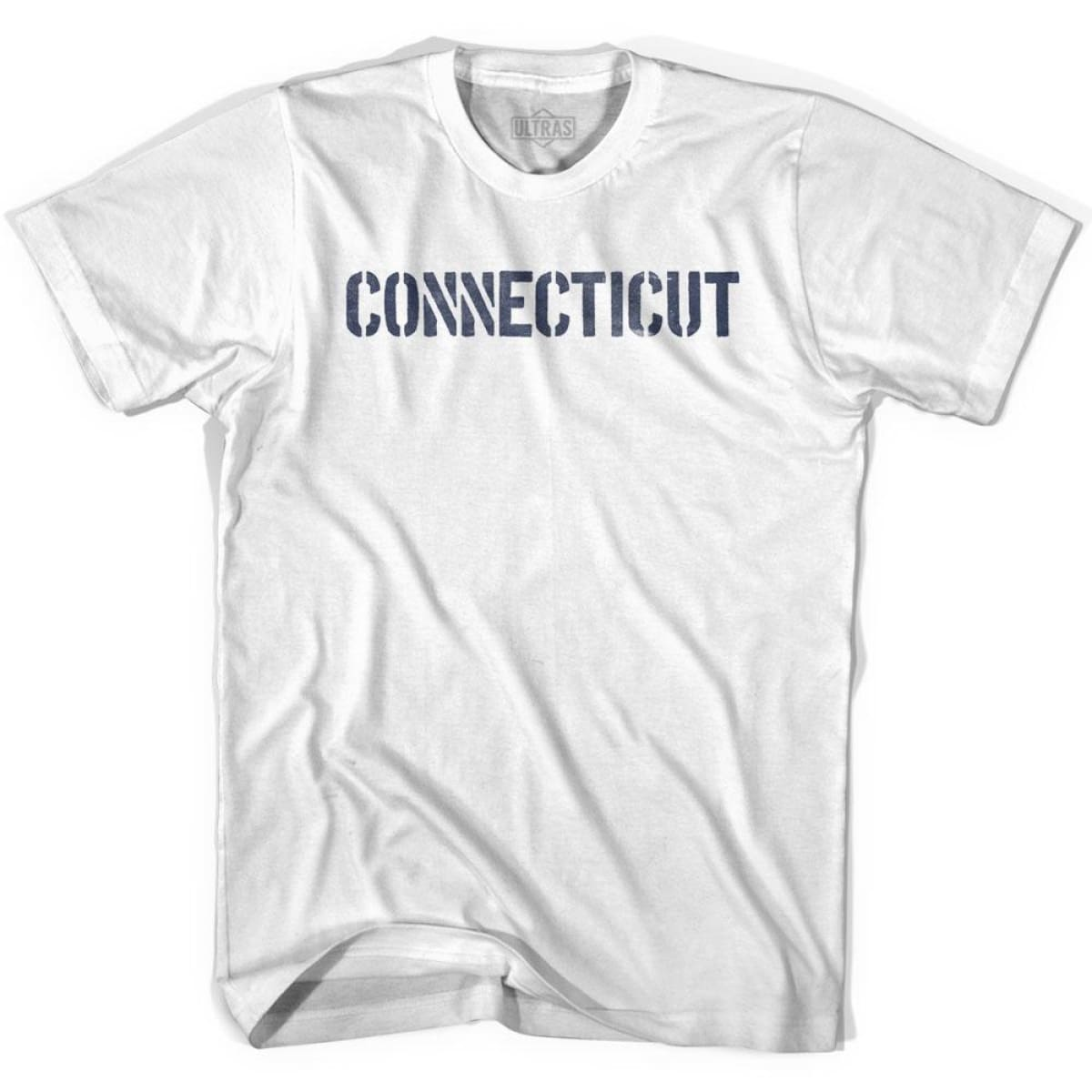 Connecticut State Stencil Youth Cotton T-shirt - White / Youth X-Small - Stencil State