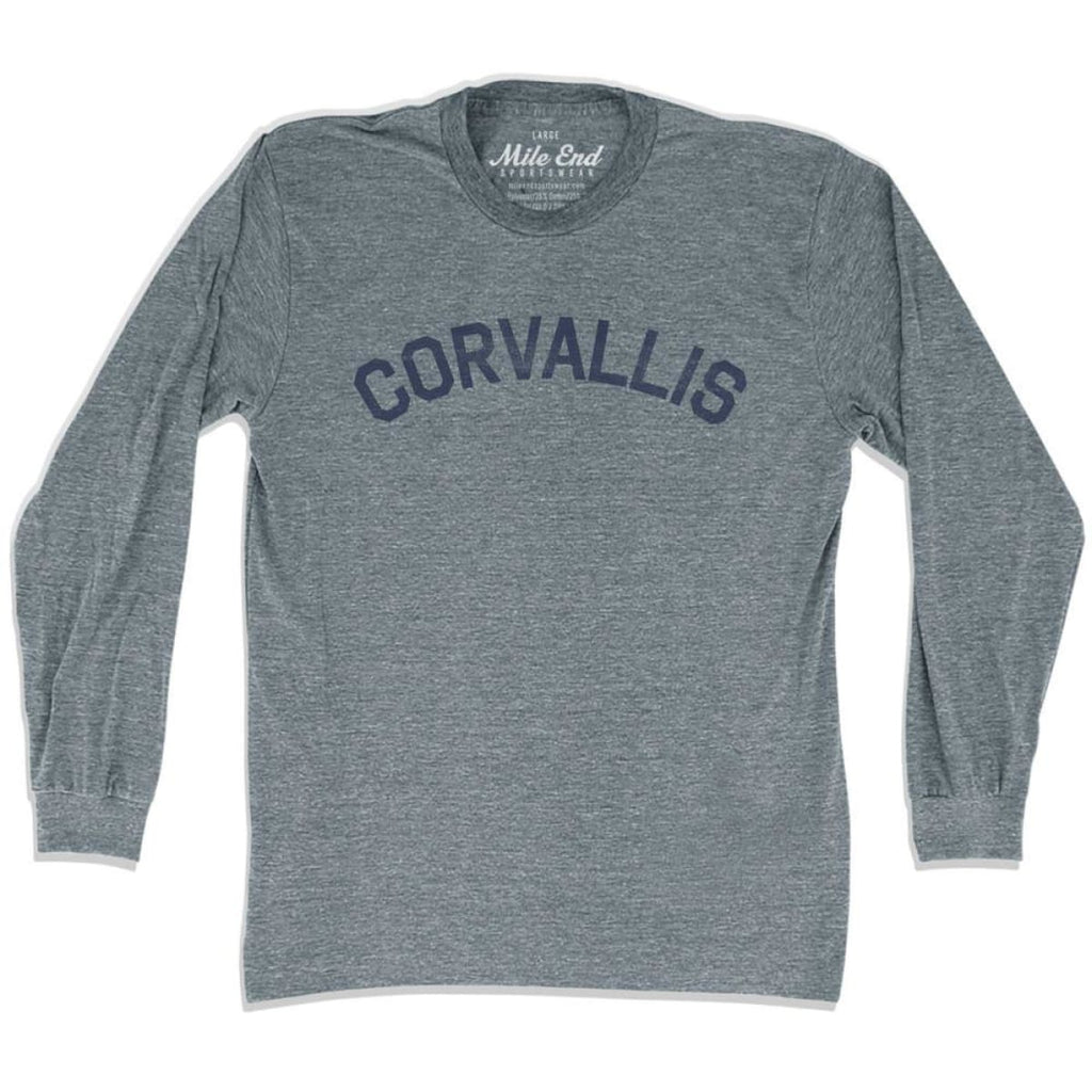 Corvallis City Vintage Long Sleeve T-Shirt - Athletic Grey / Adult X-Small - Mile End City