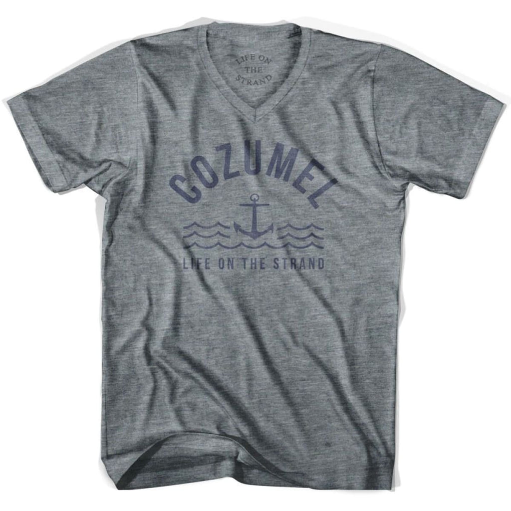 Cozumel Anchor Life on the Strand V-neck T-shirt - Athletic Grey / Adult X-Small - Life on the Strand Anchor
