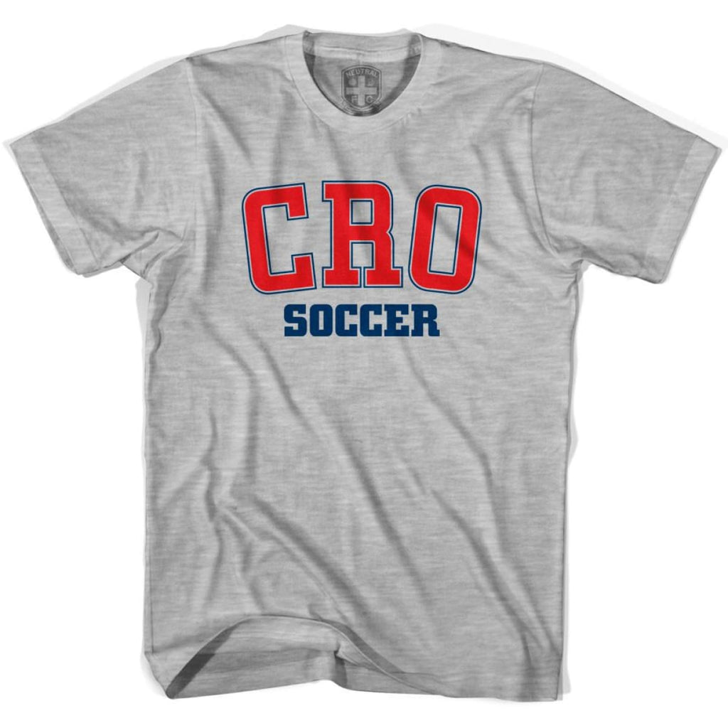 Croatia CRO Soccer Country Code T-shirt - Grey Heather / Youth X-Small - Ultras Soccer T-shirts