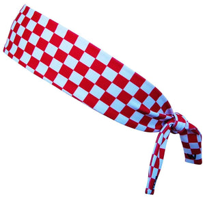 Croatia Red and White Checkerboard Elastic Tie Headband - Red and White / One Size - Wicked Headbands