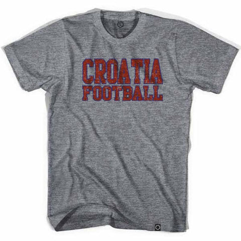 Croatia Vintage Soccer T-shirt - Athletic Grey / Adult Small - Ultras Soccer Country T-shirts