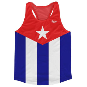 Cuba Country Flag Running Tank Top Racerback Track and Cross Country Singlet Jersey - White Blue / Adult X-Small - Running Top