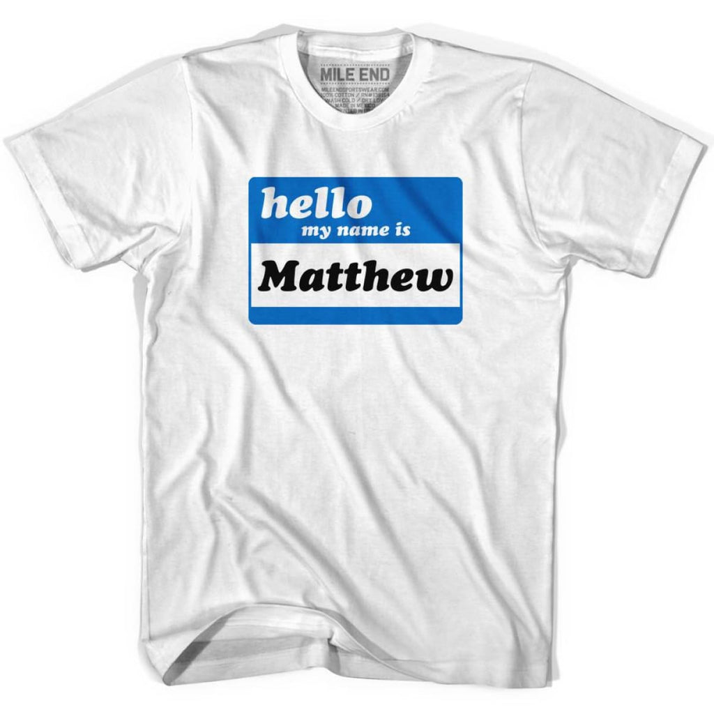 Custom Hello My Name Is Large Chest Area T-shirt - Mile End Custom