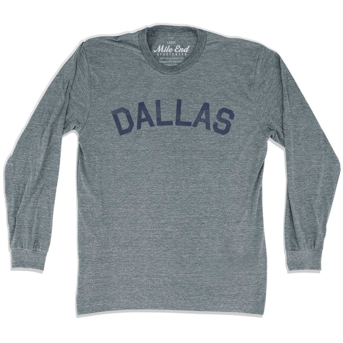 Dallas City Vintage Long Sleeve T-Shirt - Athletic Grey / Adult X-Small - Mile End City
