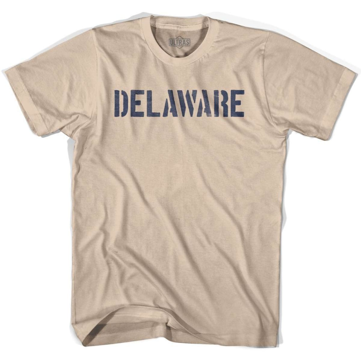 Delaware State Stencil Adult Cotton T-shirt - Creme / Adult Small - Stencil State