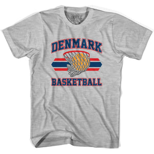 Denmark 90s Basketball T-shirts - Grey Heather / Youth X-Small - Basketball T-shirt