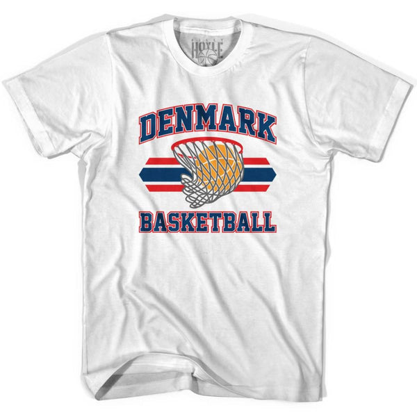 Denmark 90s Basketball T-shirts - White / Youth X-Small - Basketball T-shirt