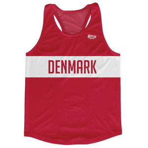 Denmark Country Finish Line Running Tank Top Racerback Track and Cross Country Singlet Jersey - Red White / Adult X-Small - Running Top