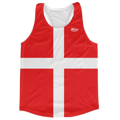Denmark Country Flag Running Tank Top Racerback Track and Cross Country Singlet Jersey - Red White / Adult X-Small - Running Top