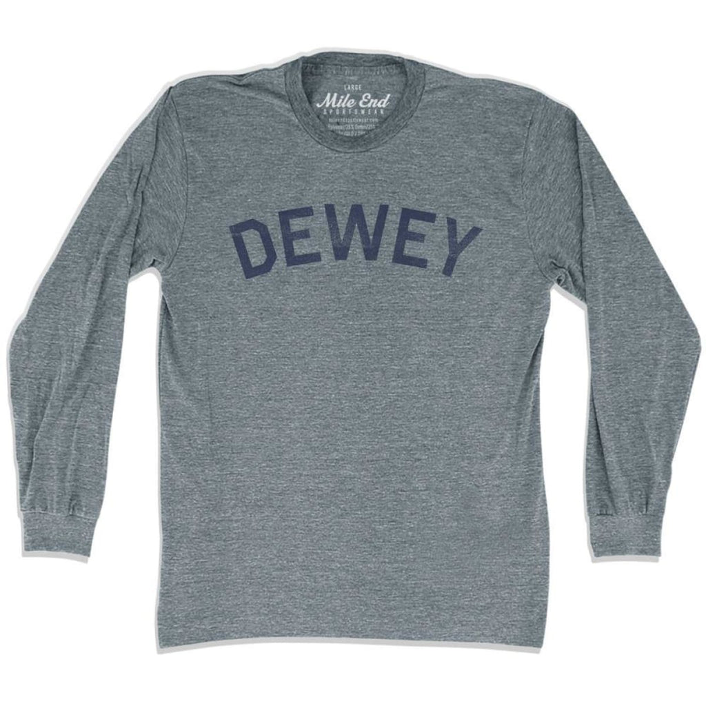 Dewey City Vintage Long Sleeve T-Shirt - Athletic Grey / Adult X-Small - Mile End City