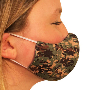 Digital Camo Lightweight Reversible Ear Loop Adult Face Mask Made In USA