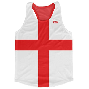 England Country Flag Running Tank Top Racerback Track and Cross Country Singlet Jersey - White Red / Adult X-Small - Running Top