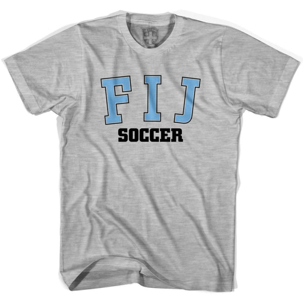 Fiji FIJ Soccer Country Code T-shirt - Grey Heather / Youth X-Small - Ultras Soccer T-shirts