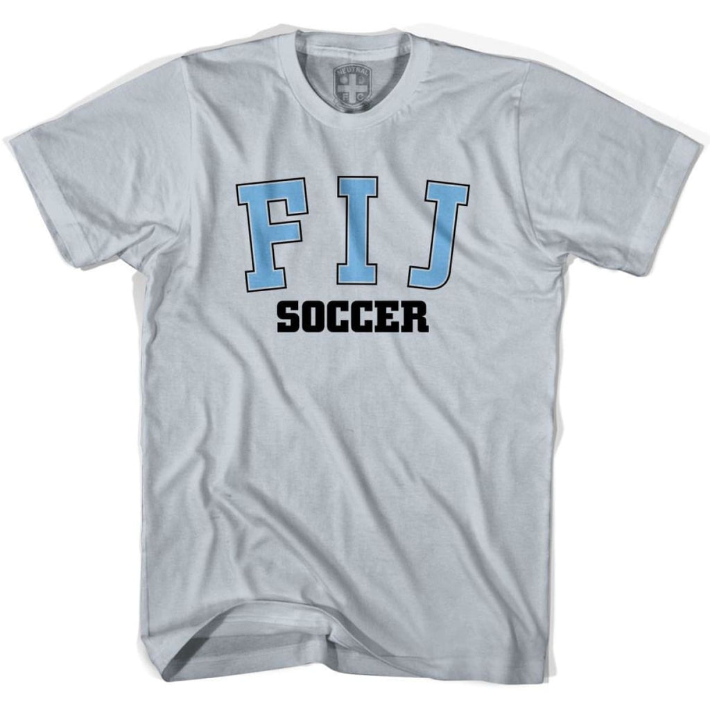 Fiji FIJ Soccer Country Code T-shirt - Silver / Youth X-Small - Ultras Soccer T-shirts