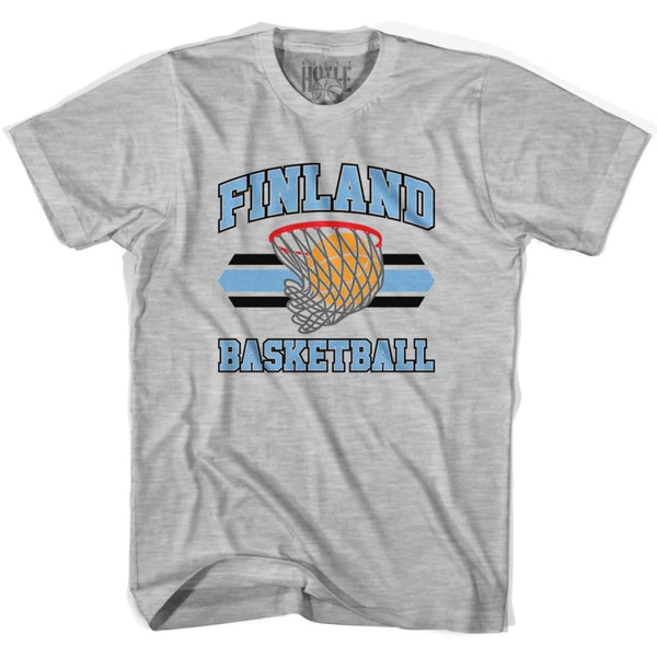Finland 90s Basketball T-shirts - Grey Heather / Youth X-Small - Basketball T-shirt
