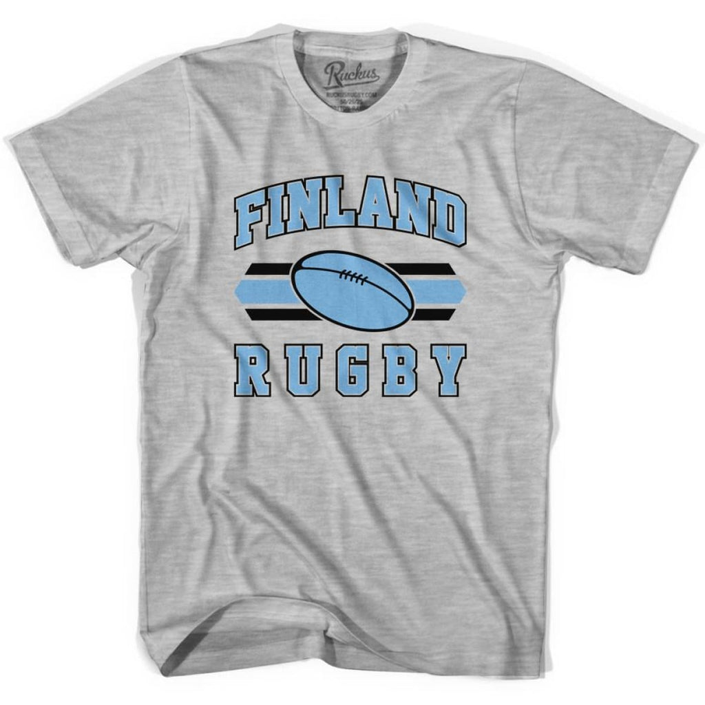 Finland 90s Rugby Ball T-shirt - Grey Heather / Youth X-Small - Rugby Sevens