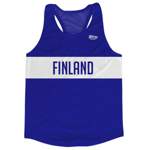 Finland Country Finish Line Running Tank Top Racerback Track and Cross Country Singlet Jersey - Blue White / Adult X-Small - Running Top