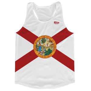 Florida State Flag Running Tank Top Racerback Track and Cross Country Singlet Jersey - White / Adult X-Small - Running Top