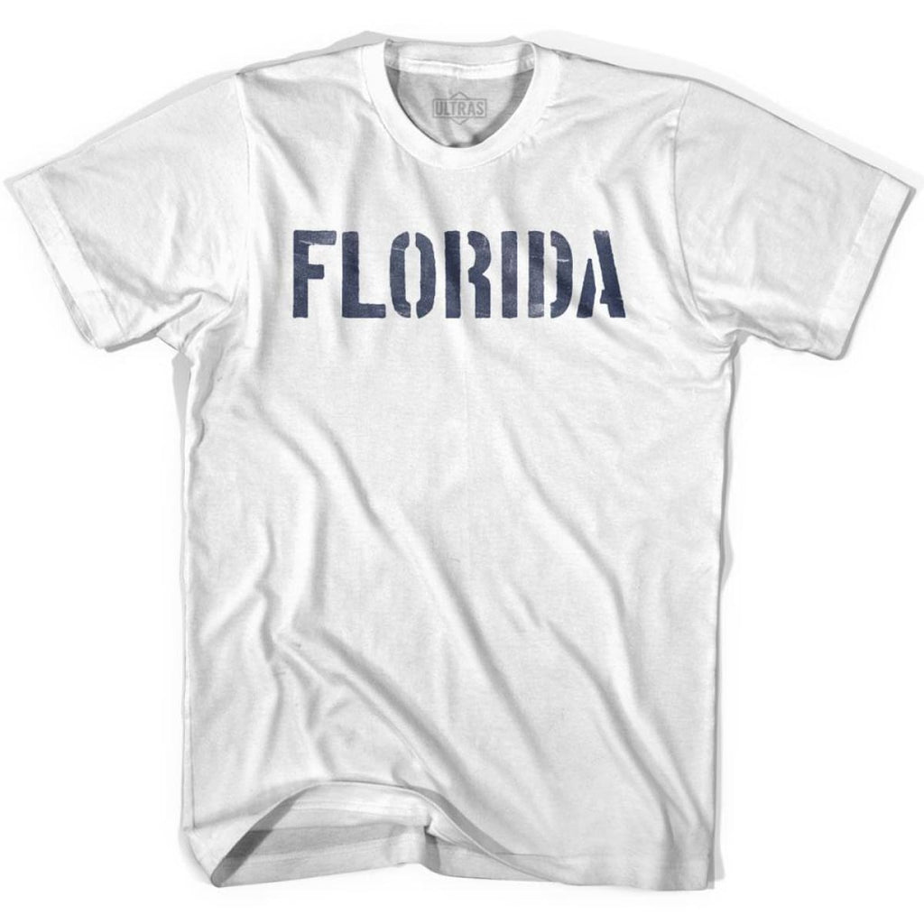 Florida State Stencil Youth Cotton T-shirt - White / Youth X-Small - Stencil State