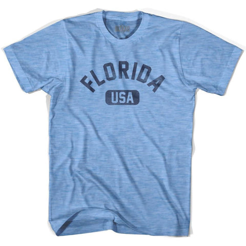 Florida USA Adult Tri-Blend T-shirt - Athletic Blue / Adult Small - USA State