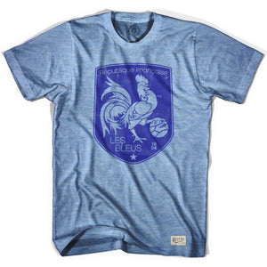 France Rooster Shield Soccer T-shirt - Athletic Blue / Adult Small - Ultras Soccer Country T-shirts