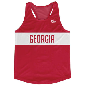 Georgia Country Finish Line Running Tank Top Racerback Track and Cross Country Singlet Jersey - Red White / Adult X-Small - Running Top