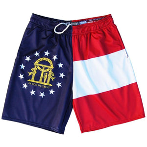 Georgia Flag Lacrosse Shorts - Navy / Youth X-Small - Tribe Lacrosse Shorts