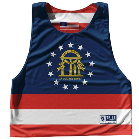 Georgia State Flag and American Flag Reversible Lacrosse Pinnie - Blue White & Red / Adult Small / No - Lacrosse Pinnies