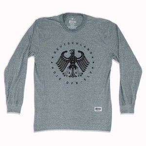 Germany Deutschland Eagle Long Sleeve T-shirt - Athletic Grey / Adult Small - Ultras Soccer Country T-shirts