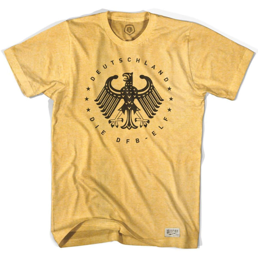 Germany Deutschland Vintage Eagle Soccer T-shirt - Sunshine Heather / Adult Small - Ultras Soccer Country T-shirts