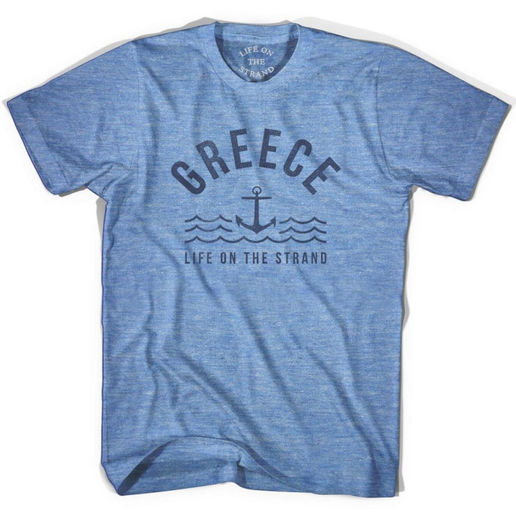 Greece Anchor Life on the Strand T-shirt - Athletic Blue / Adult X-Small - Life on the Strand Anchor