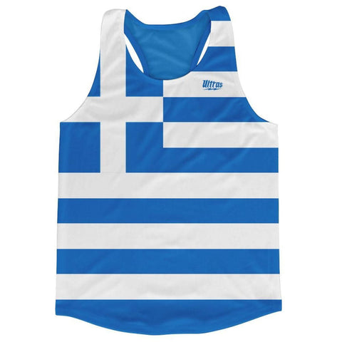 Greece Country Flag Running Tank Top Racerback Track and Cross Country Singlet Jersey - Blue White / Adult X-Small - Running Top