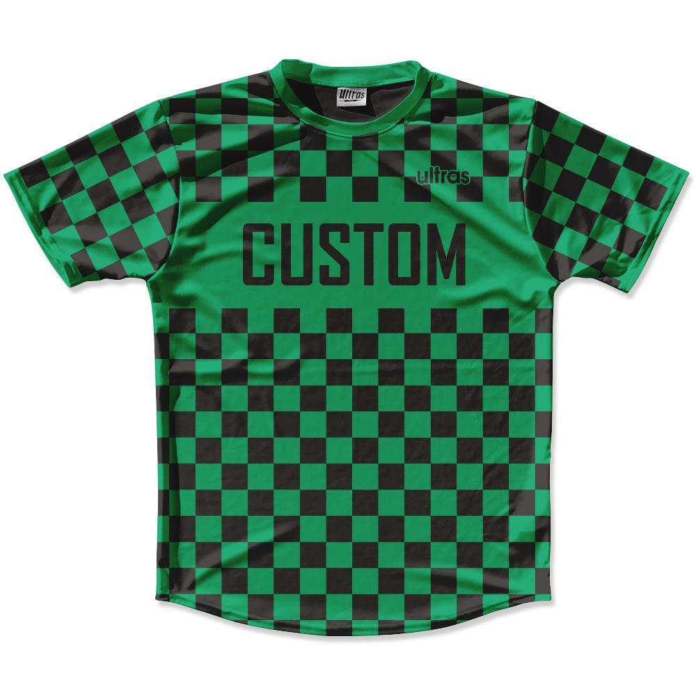 Kelly Green & Black Custom Checkerboard Soccer Jersey