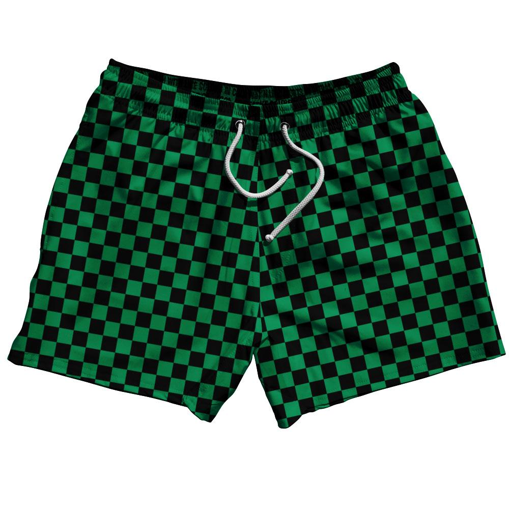"Kelly Green & Black Checkerboard Swim Shorts 5"" by Ultras"