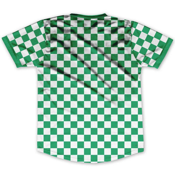 Kelly Green & White Custom Checkerboard Soccer Jersey By Ultras