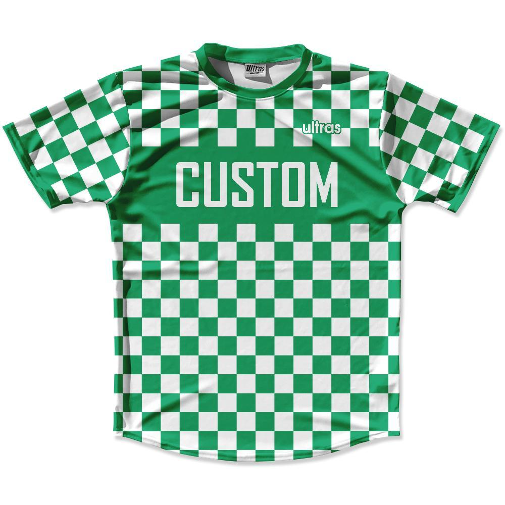 Kelly Green & White Custom Checkerboard Soccer Jersey
