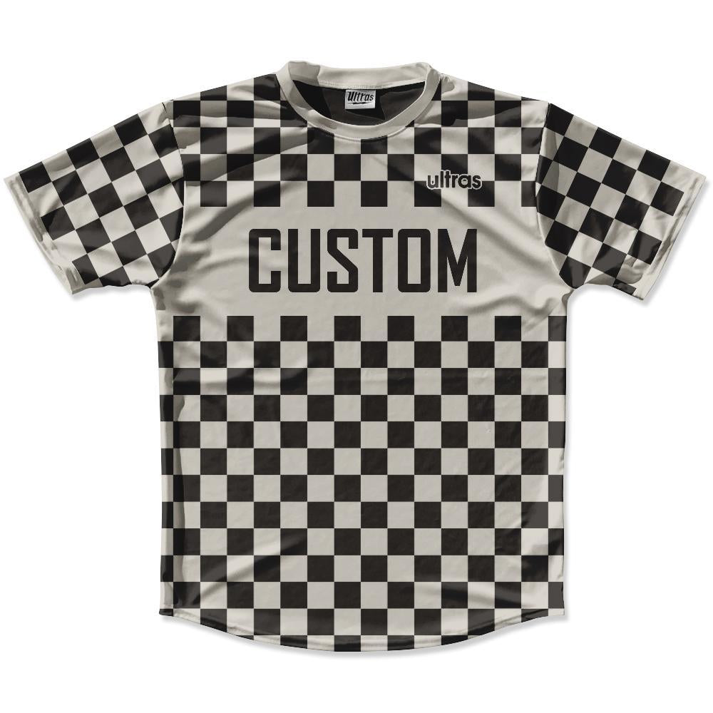 Grey Charcoal & Black Custom Checkerboard Soccer Jersey