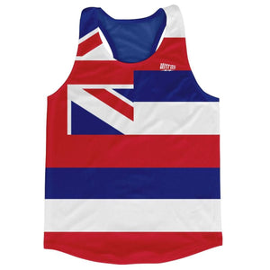 Hawaii State Flag Running Tank Top Racerback Track and Cross Country Singlet Jersey - Blue White & Red / Adult X-Small - Running Top