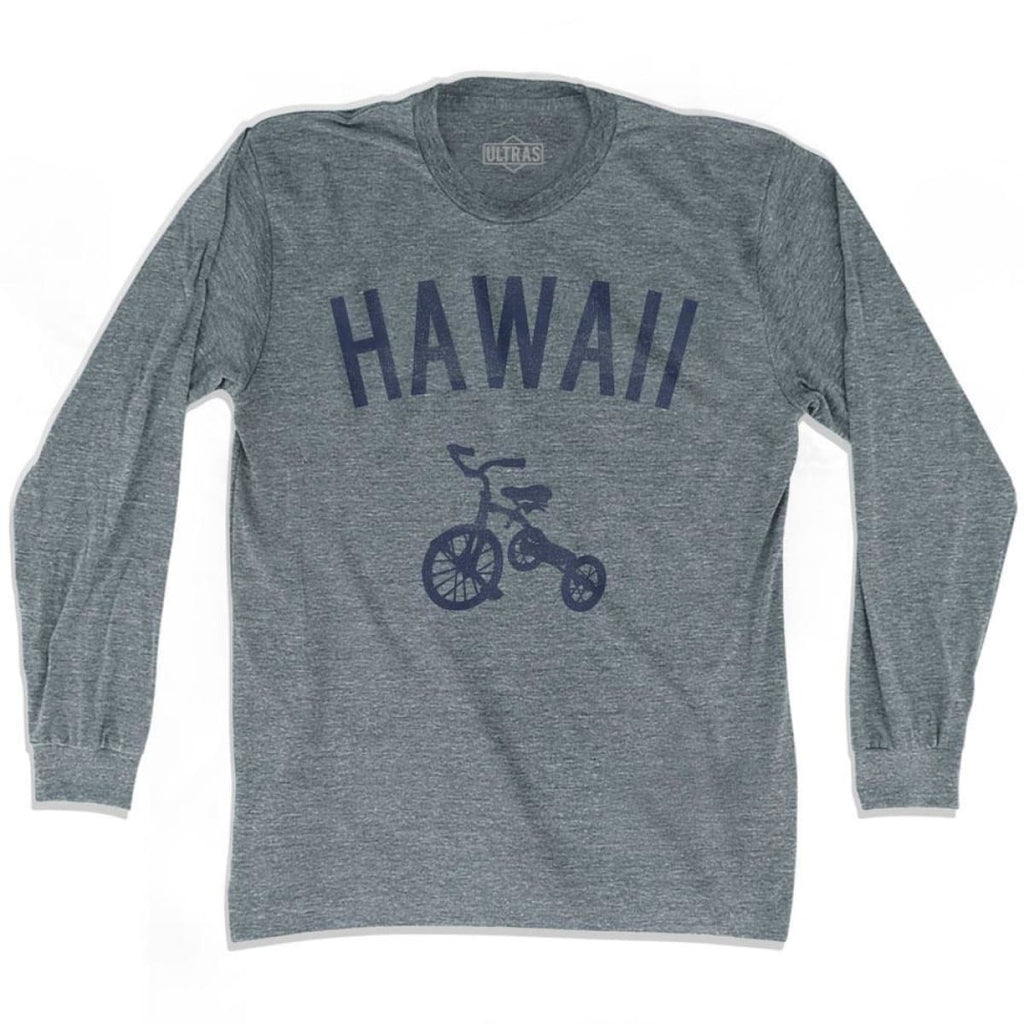Hawaii State Tricycle Adult Tri-Blend Long Sleeve T-shirt - Athletic Grey / Adult Small - Tricycle State