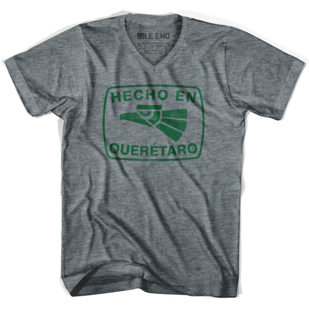 Hecho En Querétaro V-neck Vintage T-shirt - Athletic Grey / Adult X-Small - Hecho En