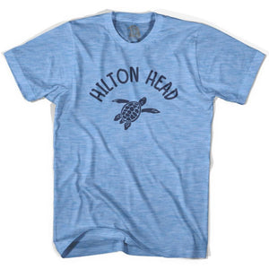 Hilton Head Beach Sea Turtle Adult Tri-Blend T-shirt - Athletic Blue / Adult Small - Turtle T-shirts