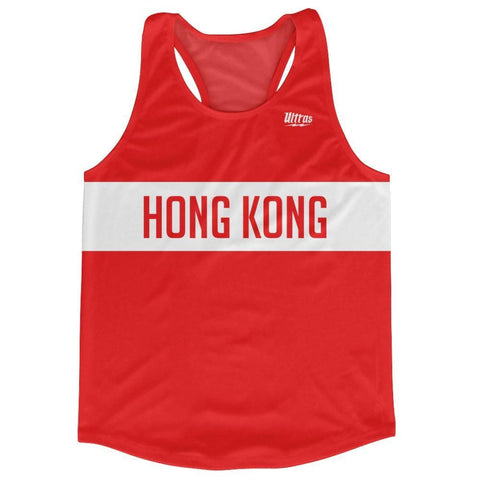 Hong Kong Country Finish Line Running Tank Top Racerback Track and Cross Country Singlet Jersey - Red White / Adult X-Small - Running Top