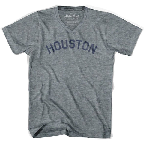 Houston City Vintage V-neck T-shirt - Athletic Grey / Adult X-Small - Mile End City
