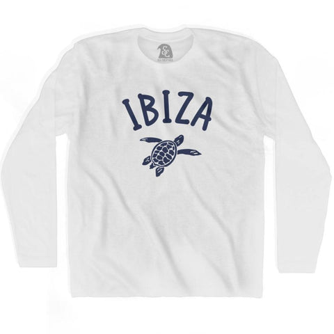 Ibiza Beach Sea Turtle Adult Cotton Long Sleeve T-shirt - White / Adult Small - Turtle T-shirts